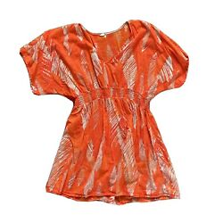 Womens Target Size Large Orange Swimsuit Cover Sheer Summer Printed $9.99