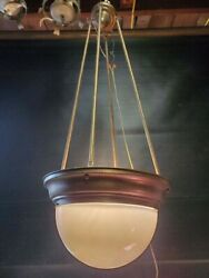 Vintage Brass And Milkglass Pendant Light Vintage Chandelier Antique Light $793.56