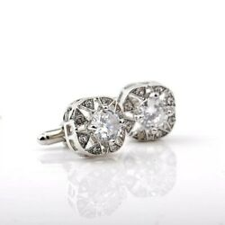 Silver Flower Square Crystal Cufflinks Formal for Shirt Suit Wedding Business GBP 6.99