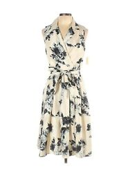 Dressbarn Blue Ivory Floral Cocktail Dress Size 12 Faux Wrap $59.99