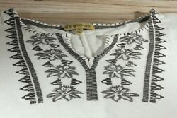 Women#x27;s Short Sleeve BoHo Style Embroidered Top Medium White and Gray Tee $9.50