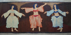 Belly Dancer Pattern Flat Weave Wall Area Rug Large Runner One of a Kind 5x15 ft $3900.00