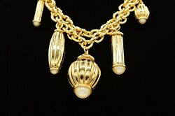 Givenchy Vintage Heavy Statement Collar Necklace Pendant Charm Pearl Runway Bin1 $157.49