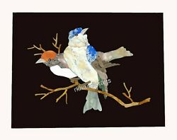 Birds Design Inlaid Marble Wall Scenery Black Stone Coffee Table 12 x 18 Inches $275.63