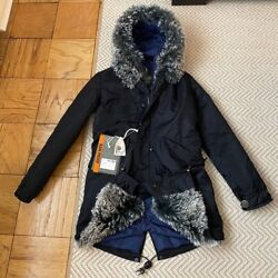 NWT Mr amp; Mrs Italy Midi Fur Tim Lined Hooded Parka Coat XS $1195.00