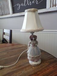 Vintage Porcelain Victorian Lady Figurine Lamp Small NICE $15.99