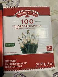 Holiday Time 100 Clear Mini Lights NEW Green Wire $8.50