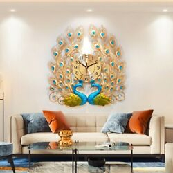 Luxury Peacock Large Wall Clock 3D Metal Living Room Wall Watch Home Decor Gift $59.58