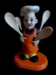 Kitchen Decor Chef Spoon Utensil Holder Hand Painted Ceramic 12quot; Tall Gifts $52.95