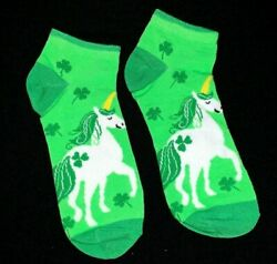 St. Patricks Day Unicorn Lucky Clover Novelty Women's Low Cut Socks Size 5 9 $4.95