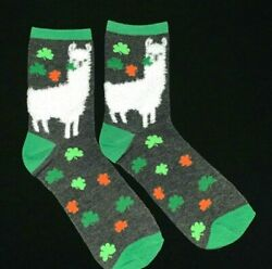 St. Patrick#x27;s Day Llama Lucky Clover Novelty Women's Crew Socks Size 5 9 $4.95