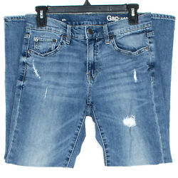 Gap Womens Jeans Girlfriend Vintage Mid Rise Distressed Blue 27 HC $22.38