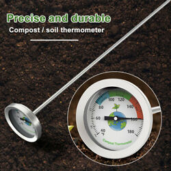 Premium Stainless Steel Compost Thermometer Garden Soil Backyard 10℃ 76℃ $12.39