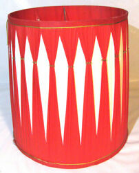 VINTAGE 14quot; DRUM TABLE LAMP SHADE RED WHITE CIRCA 70#x27;S $4.59