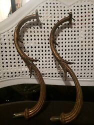 Antique Lot Of 2 Spanish Brass Chandelier Arms 10 Inch Parts Repair Replacement $21.00