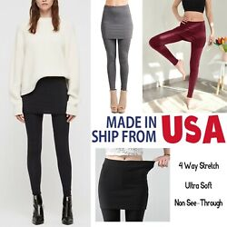Regular Plus Size Women#x27;s Stretch Workout Black Skirt Fashion Leggings $19.99