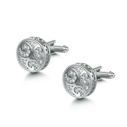 Silver Round Circle Crystals Cufflinks Formal for Shirt Suit Wedding Business GBP 6.49