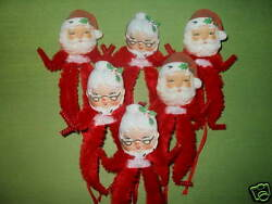 Primitive Vintage Style Christmas Mr. and Mrs. Claus Ornaments Chenille $7.50