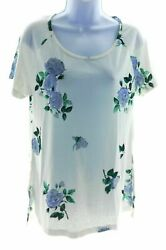 High Fifth Womens White and Blue Floral Short Sleeve Top Size Large $12.48