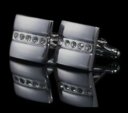 Silver Square Crystal Cufflinks Formal for Shirt Suit Wedding Business GBP 4.49