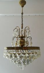 French Basket Style Vintage Brass amp; Crystals Chandelier Antique Lamp quot;208 14quot; $525.00