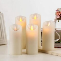 BRAZING CANDLES 5 pc set of LED Flameless Ivory Candles w Remote Control Timer $21.99