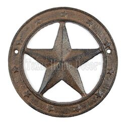 Texas Star with Ring Cast Iron Western Barn Decor 6.25quot; Rustic Antique Style $13.95