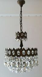 French Basket Style Vintage Brass amp; Crystals Chandelier Antique Lamp quot;208 22quot; $425.00