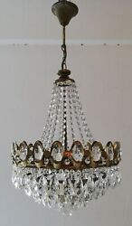 French Basket Style Vintage Brass amp; Crystals Chandelier Antique Lamp quot;208 23quot; $445.00