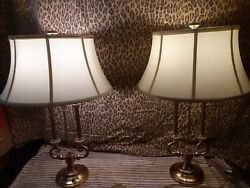 PAIR TRADITIONAL BRASS FRENCH BOUILLOTTE STIFFEL LIGHTS ORIGINAL LAMP SHADES $899.00