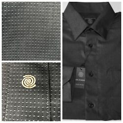 FUSION Long Sleeve Button down Mens Dress Casual Shirt Black With Silver Dot NWT $14.75