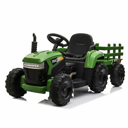 12V Electric Kids Ride On Car Battery Powered Tractor w Trailer Children#x27;s Toy $169.99