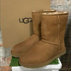 NIB UGG Women#x27;s Classic Short II Winter Boots Chestnut Suede Authentic Pick Size $124.95