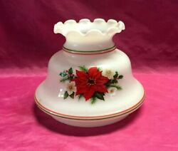 Vintage Hurricane Ceiling Quoizel Milk Glass Flowers Painted Shade 6quot; Fitter $17.99