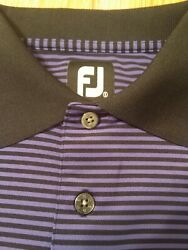 Men#x27;s Footjoy Golf Polo Short Sleeve Performance Small Striped Purple Black $15.01