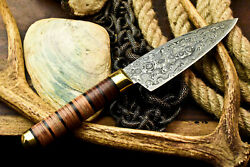 Custom Hand Made Damascus Blade Chef Kitchen Full Tang Knife Stacked Leather $39.99