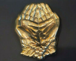 Vintage Brass Cupped Hands Jewelry Trinket Dish Coin Tip Tray $14.99
