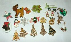 Lot of 20 Vintage amp; Modern CHRISTMAS Pins Brooches Earrings $20.00