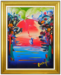 Peter Max Better World Original Mixed Media Painting Signed Acrylic Pop Artwork $5495.00