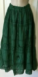 Long Cotton Skirt With Lining Size L 2 X Elastic Waist With String Green $15.99