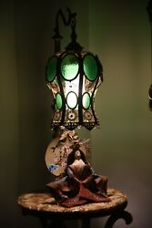 ANTIQUE Slag Glass Lamp Ornate Brass amp; Marble Huge 63#x27;#x27; $900.00