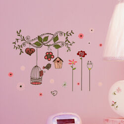 Removable Cosy Art Decors Wall Stickers Flowers and birds DIY Wall Decoration $7.05
