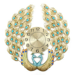 3D Large Wall Clock Luxury Peacock Metal Living Room Wall Watch Home Watch 12H $56.98