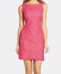 Adrianna Papell Lace Dress PINK 8 $30.99