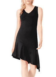 BAR III Dress Black Cocktail Shift Small Satin Asymmetrical Hem Sleeveless NEW