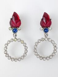 AUTHENTIC GIVENCHY VINTAGE EARRINGS RED LEAF BLUE CABOCHON CLEAR CRYSTALS $225.00