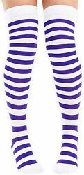 Ladies Funky Fashion Purple And White Teens Over The Knee Socks Hen Fun Nights GBP 2.99