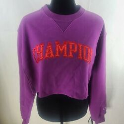 Champion Women#x27;s Vintage Wash Crew Neck Sweatshirt Purple Small WS 002 $25.00