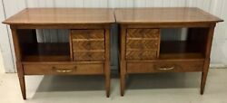 PAIR MID CENTURY MODERN SIDE TABLES $550.00