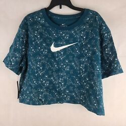 Nike Women Sportswear Metallic Print Cropped T Shirt Midnight Turquoise M WS 219 $15.30
